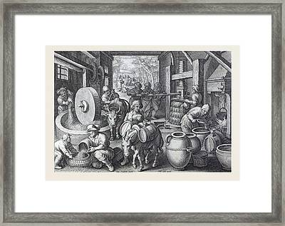 Oleum Olivarum, The Invention Of The Olive Oil Press Framed Print by Italian School