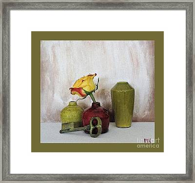 Olive Green Vases Key And Yellow Rose Framed Print by Marsha Heiken