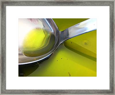 Olive Oil And Ladle Framed Print