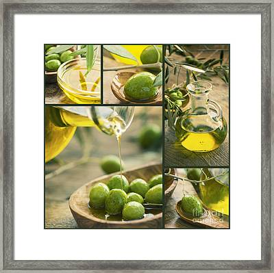 Olive Oil Collage Framed Print by Mythja  Photography