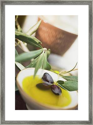 Olive Oil In Small Bowl With Black Olives Framed Print