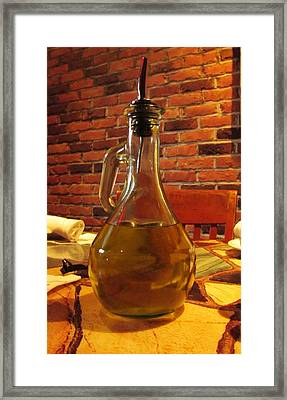 Framed Print featuring the photograph Olive Oil On Table by Cynthia Guinn