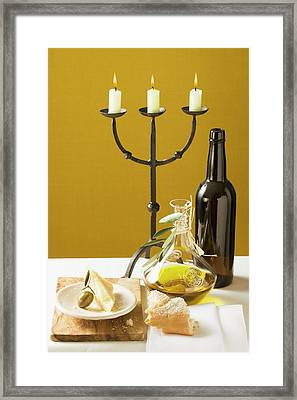 Olive, Parmesan, Bread, Olive Oil, Wine Bottle, Candlestick Framed Print