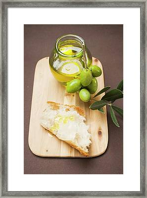 Olive Sprig With Green Olives, White Bread And Olive Oil Framed Print