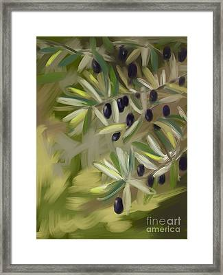 Framed Print featuring the painting Olive Tree by Go Van Kampen