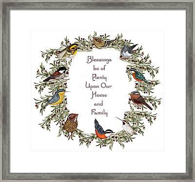 Olive Wreath Of Little Birds Blessings Framed Print by Alexandra  Sanders