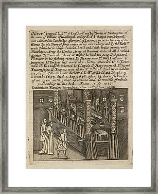 Oliver Cromwell On His Deathbed Framed Print by British Library