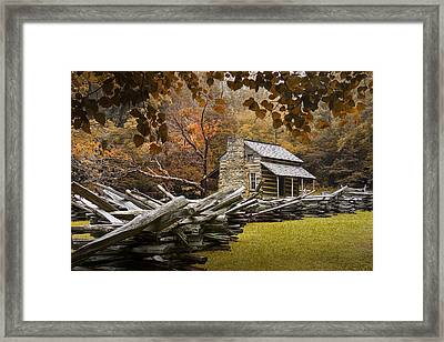 Oliver's Log Cabin During Fall In The Great Smoky Mountains Framed Print