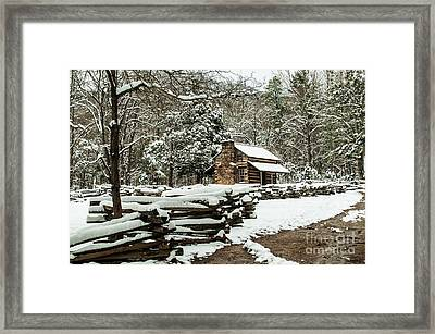 Framed Print featuring the photograph Oliver's Log Cabin Nestled In Snow by Debbie Green