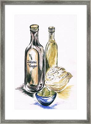 Olives With Bread And Dip Framed Print