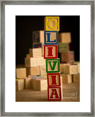 Olivia - Alphabet Blocks Framed Print by Edward Fielding