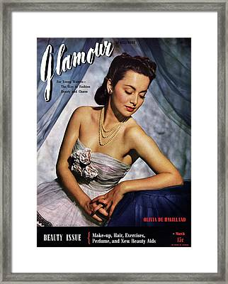 Olivia De Havilland On The Cover Of Glamour Framed Print by Scotty Welbourne