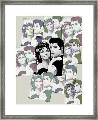 Olivia Newton John And John Travolta In Grease Collage Framed Print