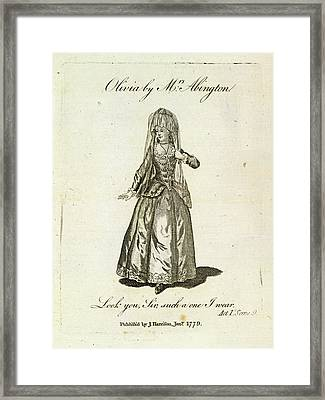 Olivia Played By Mrs Abington Framed Print by British Library