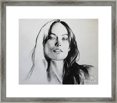 Olivia Wilde Framed Print by Miguel Lopez
