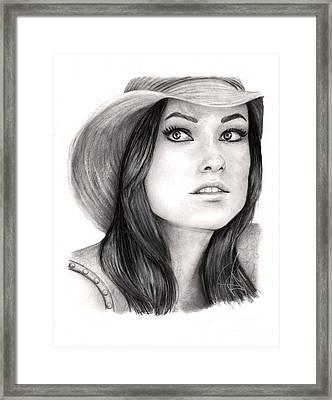 Olivia Wilde Framed Print by Rosalinda Markle