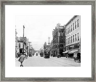 Olympia Main Street 1917 Framed Print by Joe Jeffers