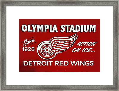 Olympia Stadium - Detroit Red Wings Sign Framed Print by Bill Cannon