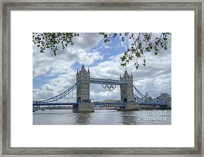 Olympic Rings On Tower Bridge Framed Print
