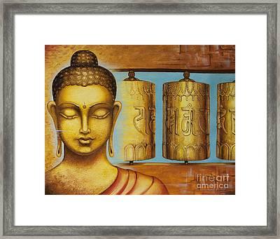 Om Mani Padme Hum Framed Print by Yuliya Glavnaya