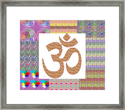 Om Manta Gold N Graphic Art Patchup Background Framed Print