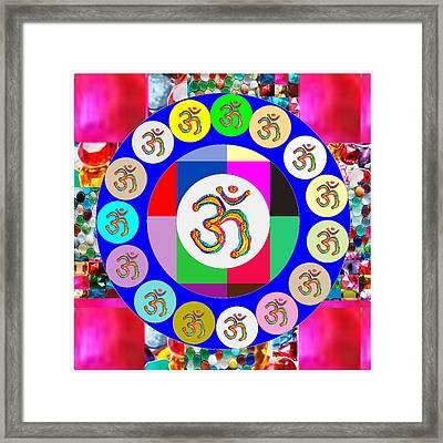 Om Mantra Dedication  Devotion Symbol Assembly By Artist N Reiki Healing Master Navinjoshi Framed Print