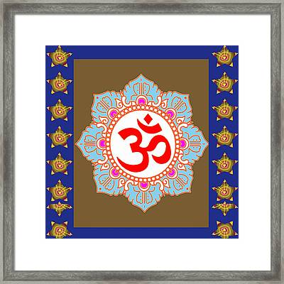 Framed Print featuring the photograph Om Mantra Ommantra Chant Yoga Meditation Tool by Navin Joshi