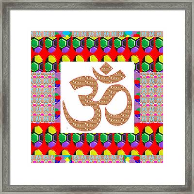 Om Mantra Ommantra Golden Art With Graphic Patchwork Art Framed Print