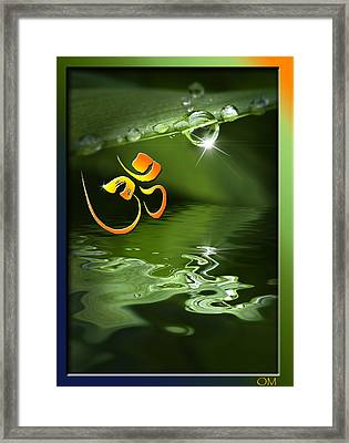 Framed Print featuring the mixed media Om On Green With Dew Drop by Peter v Quenter