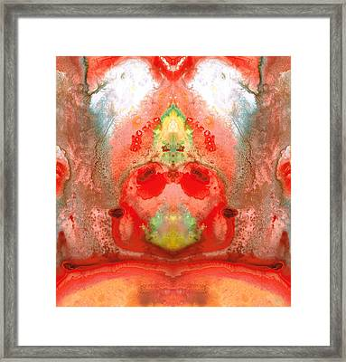 Om - Red Meditation - Abstract Art By Sharon Cummings Framed Print