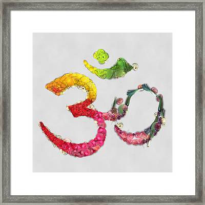 Om Symbol Fruits And Vegetables Framed Print by Eti Reid