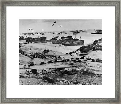 Omaha Beach After D-day. Protected Framed Print