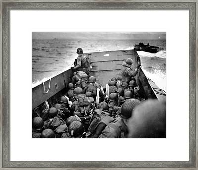 Omaha Beach Landing Craft Approaches Framed Print
