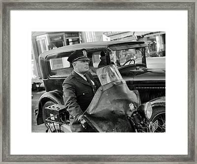 Omaha Nebraska Motorcycle Cop 1938 Framed Print by Mountain Dreams