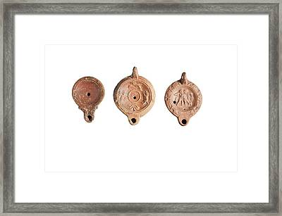 Oman Era Terracotta Oil Lamps Framed Print