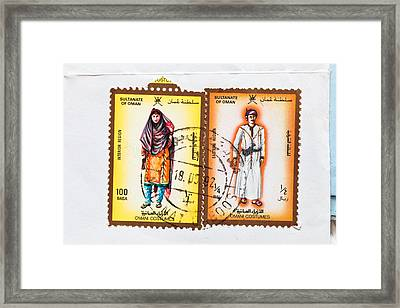 Omani Stamps Framed Print by Tom Gowanlock