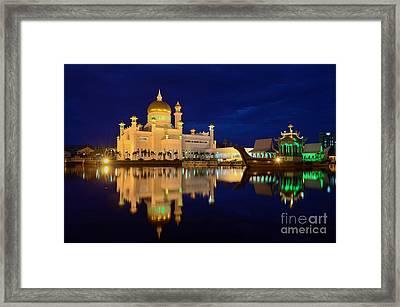 Omar Ali Saifuddien Mosque Mirror - Brunei Framed Print by OUAP Photography