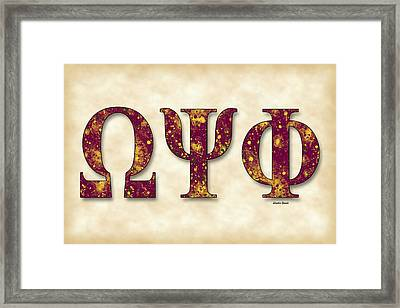 Omega Psi Phi - Parchment Framed Print by Stephen Younts