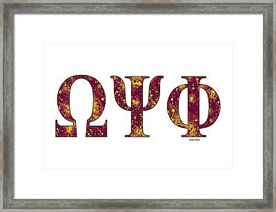 Framed Print featuring the digital art Omega Psi Phi - White by Stephen Younts