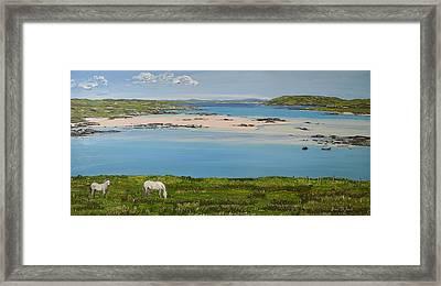Omey Strand To Omey Island Cladaghduff Connemara Ireland Framed Print