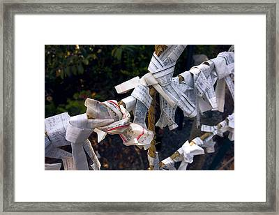 Omikuji Fortune Telling Papers - Kyoto Japan Framed Print by Daniel Hagerman