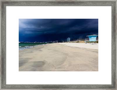 Ominous Sky Over Long Beach Framed Print by Heidi Smith
