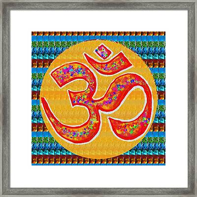 Ommantra Om Mantra Chant Yoga Meditation Spiritual Religion Sound  Navinjoshi  Rights Managed Images Framed Print by Navin Joshi