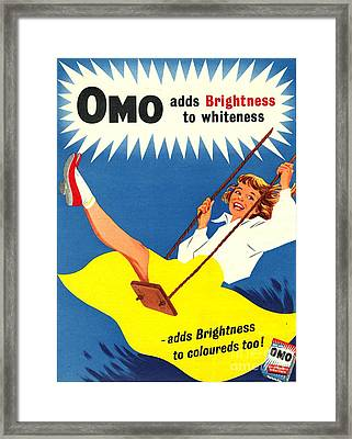 Omo 1950s Uk Washing Powder Products Framed Print by The Advertising Archives