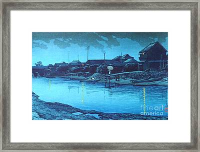 Omori Beach At Night Framed Print by Pg Reproductions