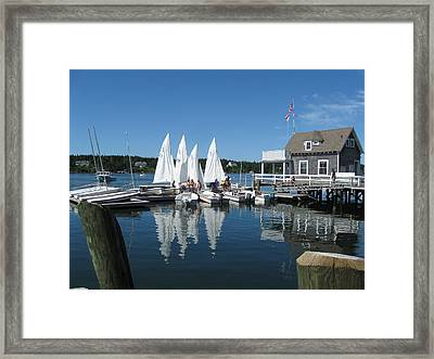On A Beautiful Maine Summer Morning On The Island Of North Havenjunior Sailing Participants Rig Sailboats Framed Print by Downeast Yacht Shots- Ted Fisher Photography