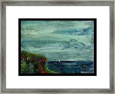 On A Bluff Over The Sea Looking At Sailboats Framed Print by Cathy Peterson