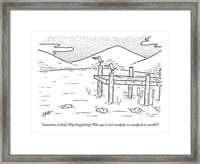 On A Dock, One Bird Speaks To Another Framed Print
