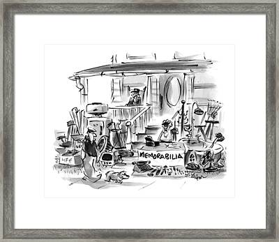 On A Front Lawn A Yard Sale Sign Reads Framed Print by Lee Lorenz