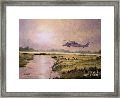 On A Mission - Hh60g Helicopter Framed Print by Bill Holkham